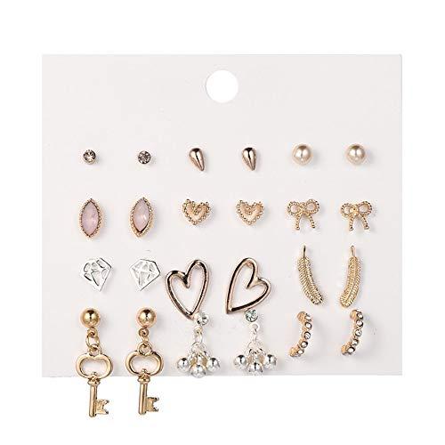12 Paren Stud Oorbellen Set, modehart Bow Knot Key Ball Oorbellen Boho Gold statement oorbellen voor vrouwen Gift