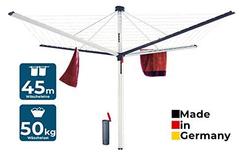 BLOME Wäschespinne Superior DuoMatic 45 - Designer Wäscheständer für den Garten inkl. Bodenhülse, Wäscheschirm mit Leinenautomatik, 45m Wäscheleine, Made in Germany