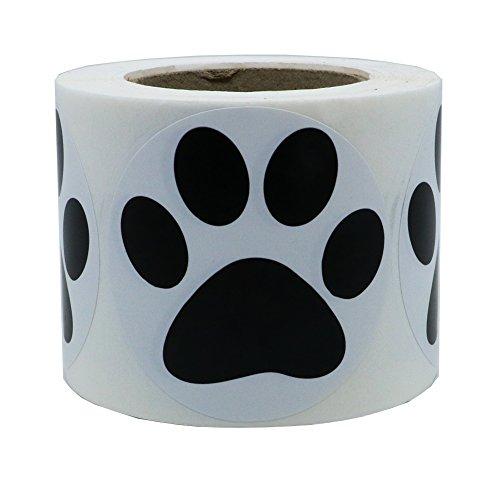 "Hybsk 2"" Round Black Bear Paw Print Dog Puppy Paw Stickers (Glossy Paper-Black paw)"