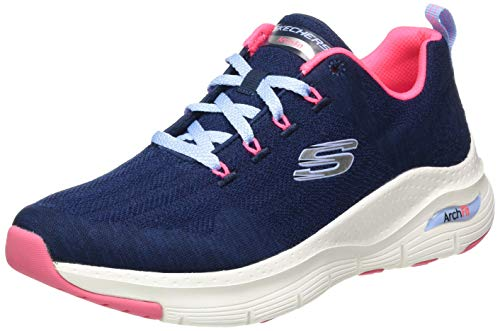 Skechers Arch FIT, Zapatillas Mujer, Nvy Knit Htpnk Trim, 39 EU