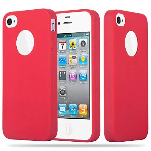 Cadorabo Hülle für Apple iPhone 4 / iPhone 4S - Hülle in Candy ROT – Handyhülle aus TPU Silikon im Candy Design - Silikonhülle Schutzhülle Ultra Slim Soft Back Cover Case Bumper