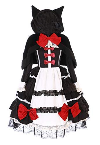 Kawaii-Story JL-657-1 Vestido & Capa Negro Orejas de Gato Lolita Volantes Vintage Victoriano Gótico Cosplay (S)