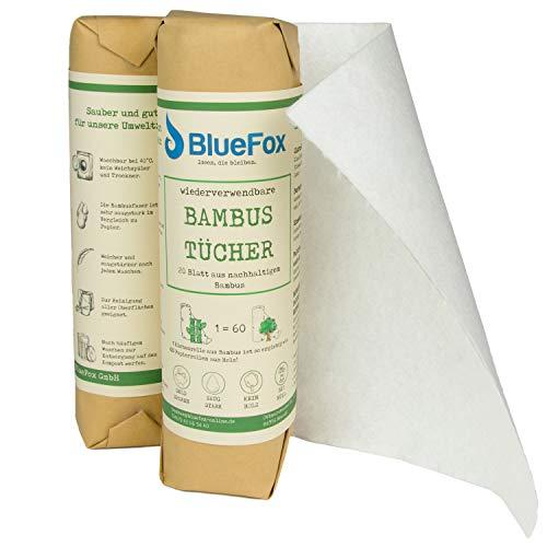 BlueFox Bambus-Küchenrolle 2er Set, saugstarke, reißfeste und saugstarke Küchentücher, ersetzt ca. 60 Papiertücher Rollen, wiederverwendbarer Putzlappen, Bambustuch waschbar, 100{930b2387cc74af7c0a7271c13ed75f524dbb6b74d172e264a9da245337bc2fae} kompostierbar
