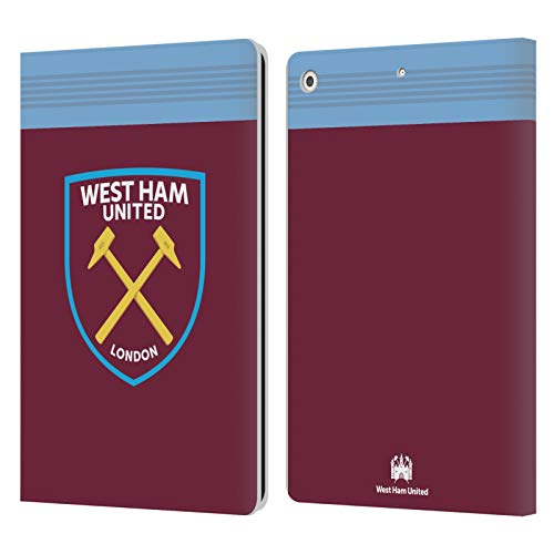 Official West Ham United FC Home 2019/20 Crest Kit Leather Book Wallet Case Cover Compatible For Apple iPad 10.2 (2019)/(2020)