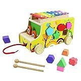 yoptote Xilofono di Legno Camion con Animali Legno Strumento Giocattoli Musicali Giochi Trainabili per Bambini 3 Anni+