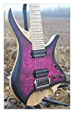 NK Headless 7 Strings Headless Electric Guitar Purple burst spalted curly maple top Flame maple Neck in stock (Size : 37 inches)