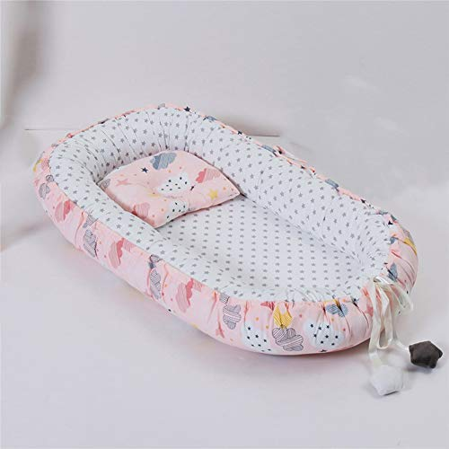 SETSCZY Baby Sleeping Pod to Promote Nourishing Sleep, Portable and Soft Infant Nest Lounger, Breathable Cotton Newborn Bassinet, Cot 0-24 Months,Pink Cloud