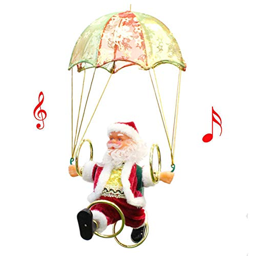 Electric Santa Decorations, Christmas Santa Doll with Parachute and Hula Hoop, Christmas Figurine Ornaments Toy Table Decor Festival Present Red (Red Santa Claus)