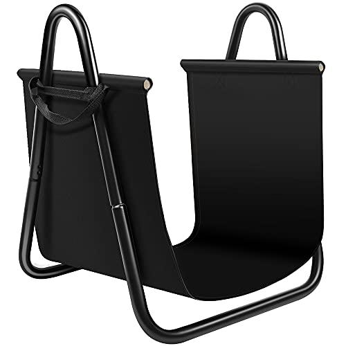 Amagabeli - Soporte para leña para chimenea, con soporte de lona para interiores, color negro