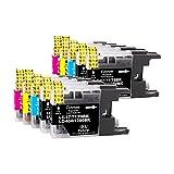 10 Unidades Tinnee Cartuchos de Tinta LC1280XL, Para Brother LC1240 LC1280 LC1240BK LC1280BK Multipack Cartuchos, Compatible con Brother MFC-J5910DW MFC-J6510DW MFC-J6710DW MFC-6910DW