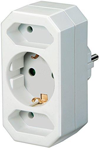 Brennenstuhl Mehrfachsteckdose, Steckdosenadapter 3-fach mit erhöhtem Berührungsschutz (2 x Eurosteckdose & 1 x Schutzkontakt) weiß