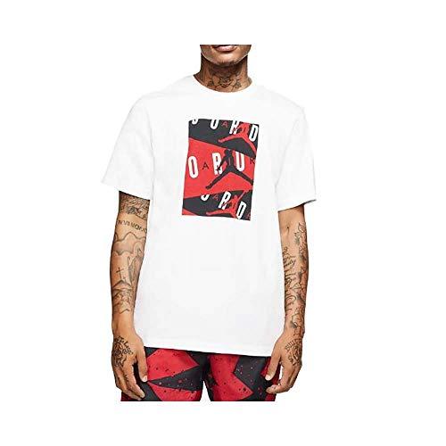 NIKE M J Jordan Air SS Crew Short Sleeve T-Shirt, Hombre, White/Gym Red, L