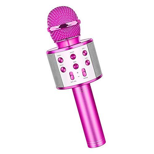 Karaoke Bluetooth-mikrofon-Microphone-Wireless-mikrofon-Lautsprecher Blauer Handheld Für Kinder Mädchen Jungen Geburtstagsgeschenk Karaoke-Spielzeug (Rose Red)