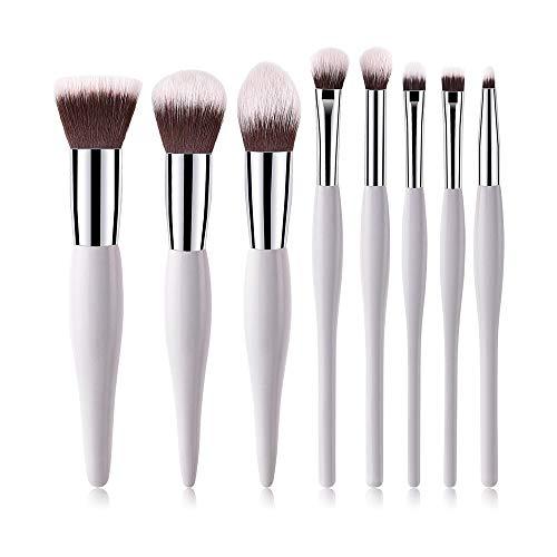 8 Pcs/Set Kit De Pinceaux De Maquillage Outils De Maquillage De Beauté Nylon Doux Cheveux Poignées En Bois Brosses Cosmétiques Foundation Poudre Fard À Paupières Brosse (Blanc )