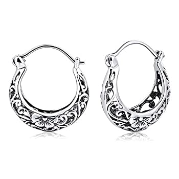 BALMORA 925 Sterling Silver Hoop Earrings for Women Girls Filigree Floral Clip-on Small Huggie Hoop Earrings Vintage Party Jewelry Christmas Gifts for Mom Friends
