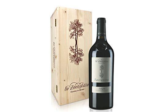 Lo Zoccolaio Langhe DOC Baccanera Rotwein - Flaschen Piedmont Wein Holzbox Barbera-Merlot-Nebbiolo-Canernet Sauvignon trocken Barbera trocken (1 x 750 ml)