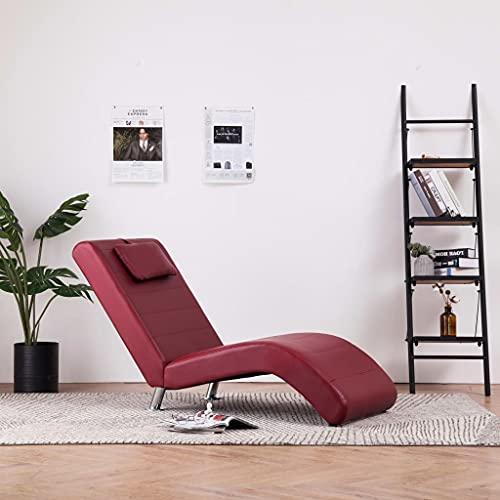Modern Relaxsessel, Relaxliege mit Kissen,Wohnzimmer Liegesessel,Polsterliege,Chaiselongue mit Kissen Weinrot Kunstleder