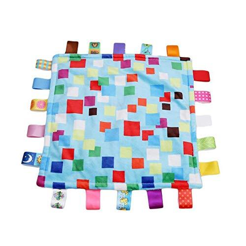 G-Tree 1pc taggies doux label multicolor jouet bébé, jouet serviette apaiser tissu, mini couverture colorée mode mignon Saisissant Réconfortant multifonctions Blanket (Bleu)