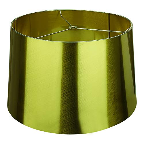 Metal Attachment Process X-Large Lamp Shades, Alucset Drum Fabric Big Lampshades for Table Lamp and Floor Light, 14x16x10 inch, Metal Color, Spider (Greenish Gold)