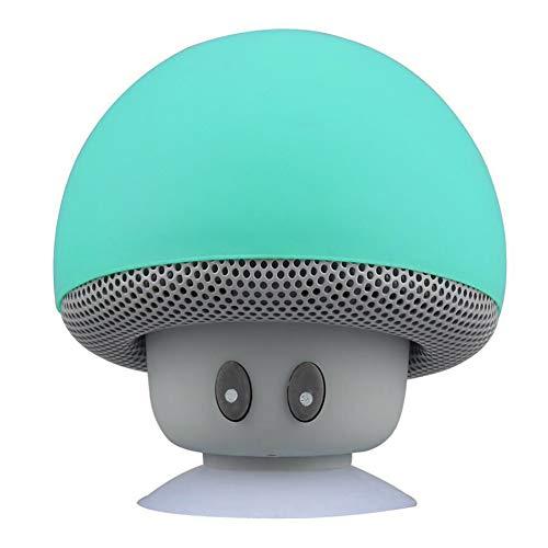 Slendima Portable Mini Bluetooth Speaker Cute Mushroom Waterproof Sucker Bass Creative Sound Box 360° Full Surround Outdoor Sport Mobile Electronic Music Player Green