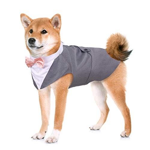 Kuoser Traje de Esmoquin para Perros de Tamaño Pequeño/Mediano/Grande, Ropa para Mascotas, Camisa para Cachorros con Lazo Rosa Extraíble, Disfraz Formal para Bodas y Festivales