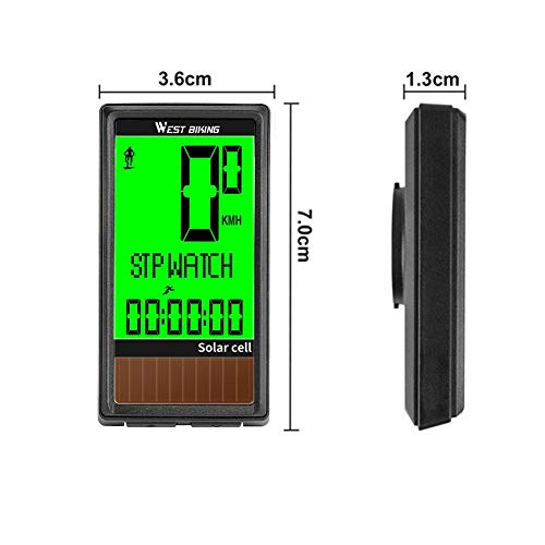 Bicycle Odometer Speedometer Bicycle Computer Backlight Wireless Waterproof Solar and Battery Powered Bicycle Accessories Outdoor Sports Tools Supporting 5 Languages