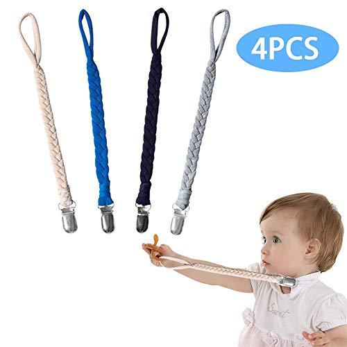 4Pcs Schnullerband Baby Baumwolle Schnullerkette Geflochtener, Mit Edelstahl Klemmen, für Neugeboren Mädchen und Jungs Sauger Schnuller