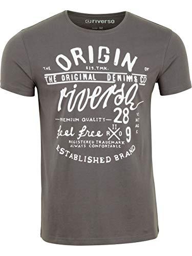 riverso Herren T-Shirt RIVLeon Rundhals O-Neck Kurzarm Tee Shirt Print Regular Fit 100{d2e6f4d23c4c917cc6fff677bcb06360c325dc101e894412d241566ec0784a67} Baumwolle Grün Blau Weiß Grau Rot Orange S M L XL 2XL 3XL 4XL 5XL, Größe:4XL, Farbe:Grau (DJD)