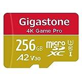 【5年保証 】Gigastone Micro SD Card 256GB A2 V30 マイクロSDカード UHS-I U3 Class 10 100MB/S 高速 micro sd カード Nintendo Switch 動作確認済 SD変換アダプタ付 ミニ収納ケース付 w/adapter and case 4K Ultra HD 動画
