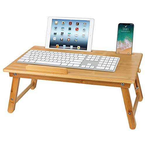 Laptoptisch,Betttisch aus Bambus mit Schublade,Faltbares Frühstück Serving Bett Tablett,Notebookständer,Sofa höhenverstellbar faltbar Lepdesks Laptopständer,55x35x(22-33) cm