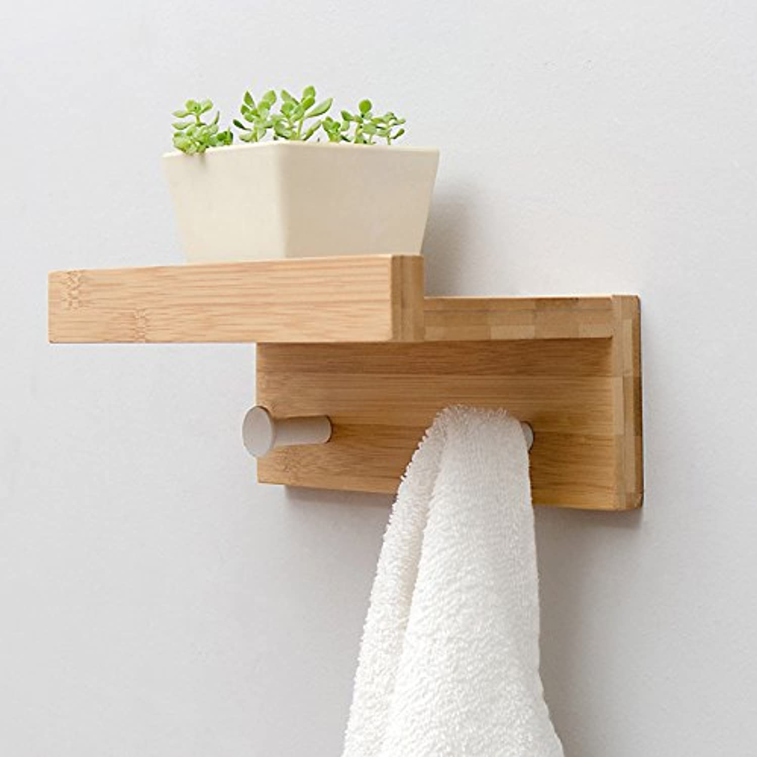 HU Living Room Wall Wood Shelf Creative Partition Wall-Mounted Hook Bathroom Towel Rack Decorative Frame Clothes Hook (Color:Wood Color, Black, White) (Color : Wood Color, Size : 3 Hooks)