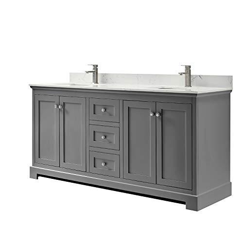 Ryla 72 Inch Double Bathroom Vanity in Dark Gray, Carrara Cultured Marble -