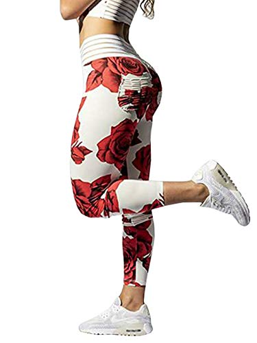 Meilidress Womens Ruched Butt Lifting Leggings High Waisted Workout Sport Tummy Control Gym Yoga Pants (Small, 2-White)