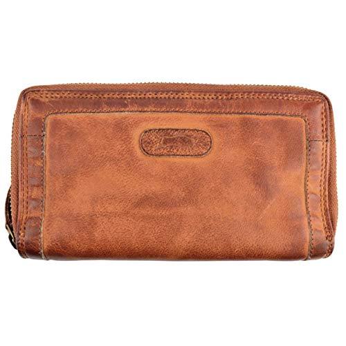 Damen-Geldbörse gewaschenes Leder Büffelleder Portemonnaie Doppelreißverschluss Used Look Vintage Geldbeutel L256 Cognac Braun