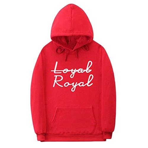 YuanDian Herren Damen Teenager Hoodie Frühling Herbst Loyal Royal Brief Drucken Hip Hop Casual Sweatshirt Mit Kapuze Warm Samtfutter Langarm Pullis Kpuzenpullover Rot 1# L