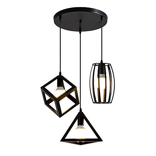 3PCS, vintage industriële hanglamp, hangende plafondlamp, geschikt voor e27-lampen (exclusief lampen) (A)