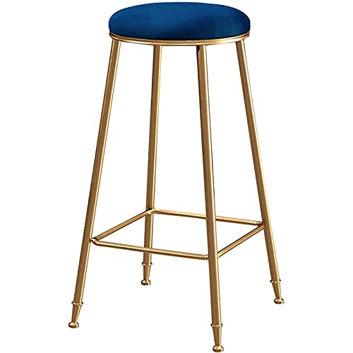 CHLDDHC Bar Stool Round Shape Velvet Counter High Foot Stool Without Back For Kitchen Dining Room And Living Room, Modern Designed Bar Stool