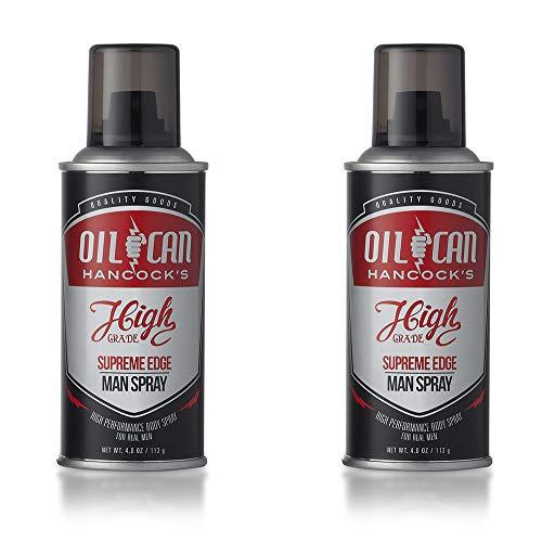 Oil Can Hancock's High Grade Man Spray - SUPREME EDGE - Bold Body Spray for men - Crisp, Masculine Scent - Cognac, Suede, Leather, Woods - 4 oz 118 ml - 2-PACK