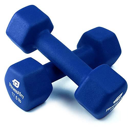 Fitness Alley 17.5lb Neoprene Dumbbell Set Coated for Non Slip Grip - Hex Dumbbells Weight Set - Hand Weights Set - Neoprene Weight Pairs - Hex Hand Weights - Set of Two Neoprene Dumbbells, Blue