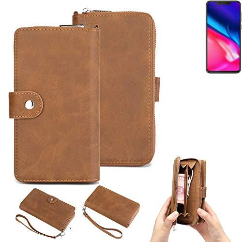 K-S-Trade® Handy-Schutz-Hülle Für Cubot P201 Portemonnee Tasche Wallet-Case Bookstyle-Etui Braun (1x)
