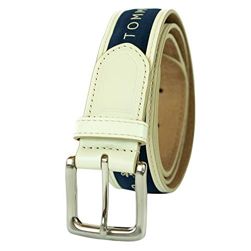 Tommy Hilfiger Men's Ribbon Inlay Belt - Ribbon Fabric Design with Single Prong Buckle, cream/medium navy, 38