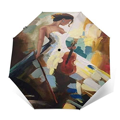 TISAGUER Paraguas automático de Apertura/Cierre,Pintura al óleo de Arte Moderno,Hermosa Mujer Elegante...