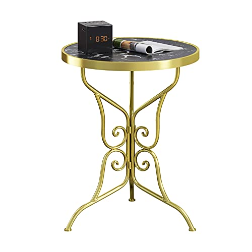 Function Home Round Marble Side Table, Modern End Table with Black Marble Top & Gold Base, Bedside Small Coffee Table for Small Spaces,Patio Side Table Outdoor, Easy Assembly