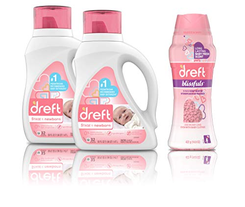 Dreft Stage 1: Newborn Hypoallergenic Liquid Baby Laundry Detergent (HE), 2 Count with Blissfuls In-Wash Scent Booster Beads, Baby Fresh