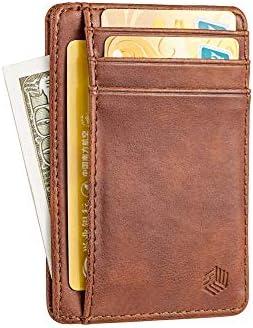 BasicTek Slim Minimalist Front Pocket RFID Blocking Leather Wallet