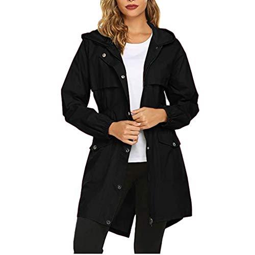 Rovinci - Chaqueta con capucha para mujer, impermeable, con capucha, ligera, cortavientos, chaqueta cortavientos, chaqueta de invierno, abrigos, Otoño-invierno 19., color Negro , tamaño EU-34/CN-S