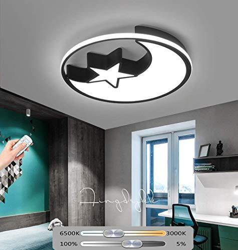 SKSNB 48W LED Luz de Techo Habitación para niños Estrellas Luna Lámpara de Techo Regulable con Control Remoto Pantalla de lámpara de acrílico de Metal Lámpara de habitación para niña y n