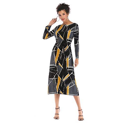 YYH Damesjurk, casual, bloemenprint-jurk, lange mouwen, midi-jurk, vrijetijdsjurk X-Large 8