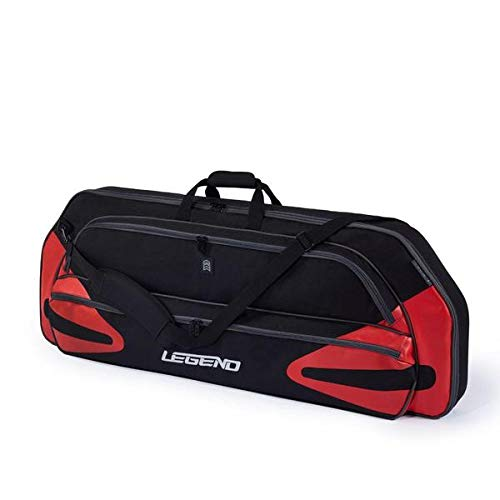 """Legend Monstro Compound Bow Soft Case with Protective Padding - 44"""" Interior Storage Space for Hunting Accessories, Arrow Tube Holder and Supplies (Black/Red)"""