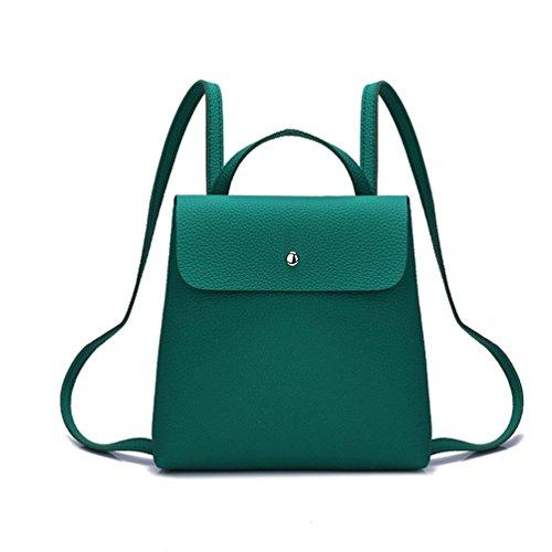 Beikoard borsale Borsa a Tracolla Zaino da Donna in Pelle di Colore Puro Fshion per Donna (Verde)